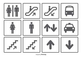 Coleção Ícone Símbolo pública vetor