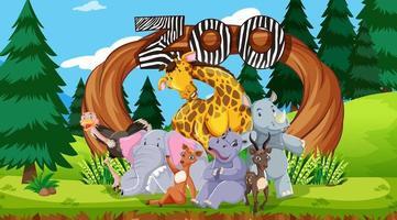 animais do zoológico no fundo da natureza vetor