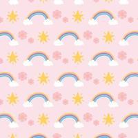 arco-íris, flores e estrelas de fundo padrão vetor