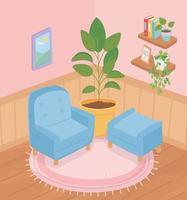 doce lar interior, composição de canto vetor