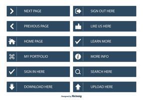 Coleção Página Botão Plano Web vetor