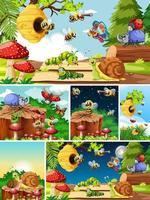 conjunto de diferentes insetos e abelhas na natureza vetor