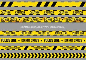 Tapes perigo, Linha de polícia e não cruza Vector Seamless