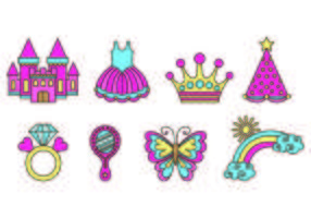 Conjunto de Princesa Icons vetor