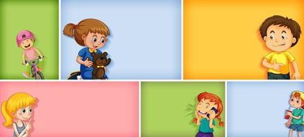 conjunto de personagens infantis diferentes em fundo de cor diferente vetor