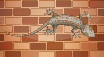 gecko na parede de tijolos em estilo cartoon vetor
