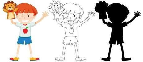 menino brincando com a mão de boneca em cores e contornos e silhueta vetor