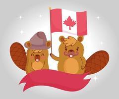 castores com bandeira canadense para comemorar o dia do Canadá vetor