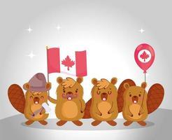 castores com bandeira e balão do Canadá vetor