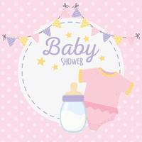 Cartão de chá de bebê rosa com ícones de bebê vetor