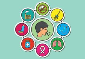 Médicos asma Icons Vector