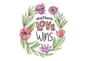 Citar o Dia das Mães bonito com flores e folhas do estilo da aguarela