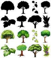 conjunto de planta e árvore com silhuetas vetor