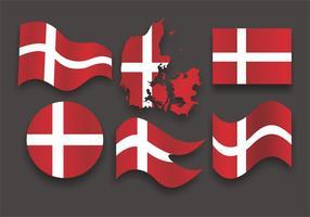 Vector bandeira dinamarquesa Set