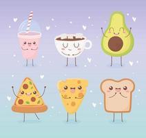 conjunto de personagens de desenhos animados de comida kawaii vetor