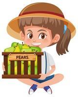 menina com cesta de peras vetor