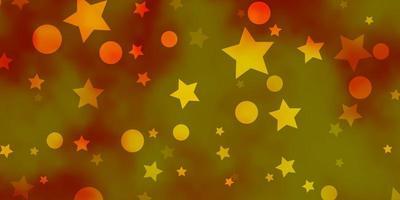 fundo amarelo escuro com círculos, estrelas.