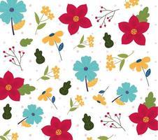 fundo padrão floral fofo vetor