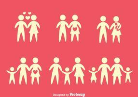 Família da silhueta ícones vetores