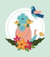arranjo de flores com pássaro vetor