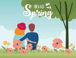 Olá, banner de celebração de primavera com casal e flores