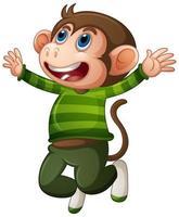 macaco fofo vestindo camiseta personagem de desenho animado vetor