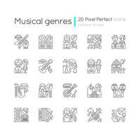 gêneros musicais, conjunto de ícones lineares vetor