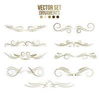 coleção de ornamentos e linhas de ouro vetor