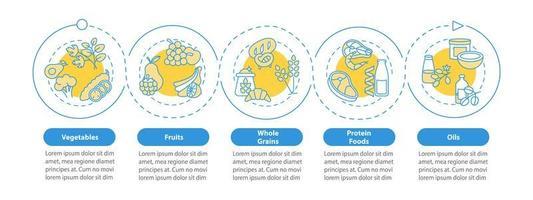 modelo de infográfico de vetor de componentes de dieta vegetariana