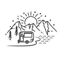 trailer de acampamento de verão, design de arte de linha vetor