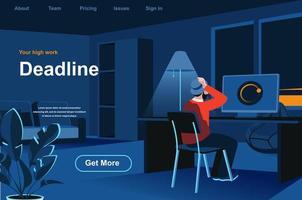 página de destino isométrica de prazo de trabalho. vetor