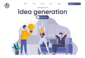 página inicial de geração de ideias com cabeçalho