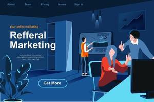 página de destino isométrica plana de marketing de referência. vetor