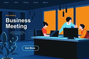página de destino isométrica da reunião de negócios vetor