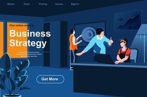 página de destino isométrica de estratégia de negócios vetor