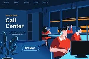 página de destino isométrica do call center vetor