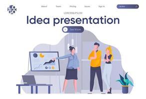 página inicial de apresentação de ideias com cabeçalho