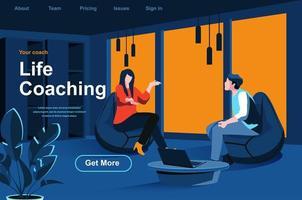 página de destino isométrica do coaching de vida vetor