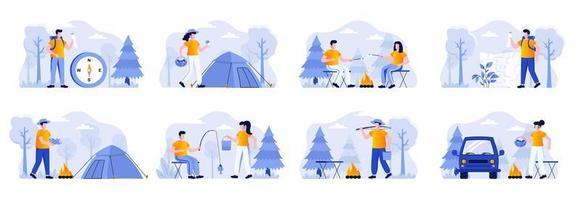 cenas de acampamento se agrupam com personagens de pessoas vetor