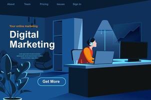 página de destino isométrica de marketing digital