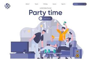 página de destino para a festa com cabeçalho vetor