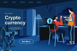 página de destino isométrica de criptomoeda vetor