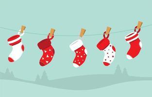 meias de natal para decoração vetor