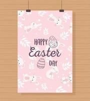 cartão de suspensão de celebração do dia de páscoa vetor