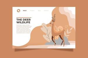 modelo de página de destino com cervo fofo vetor