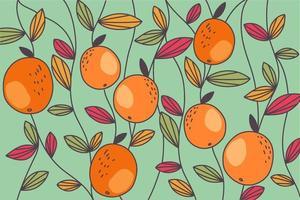 padrão abstrato de folhas coloridas e laranja vetor