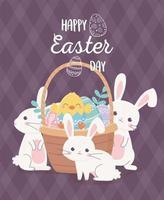 coelhos e ovos fofos para a celebração do dia de páscoa vetor