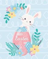 coelho e ovo fofos para a celebração do dia de páscoa vetor