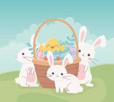 coelhos e ovos fofos para a celebração da páscoa vetor