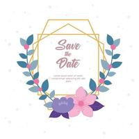 modelo de cartão de casamento floral elegante vetor